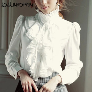 Wholesale Women Lolita Shirt Long Sleeve Stand Collar Chiffon Blouses With Ruffles New Ladies Bow Shirt Royal Style Gothic
