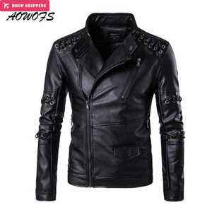 Wholesale Wholesale- AOWOFS Leather Jackets Men Spring New Criss Cross Strings Punk Leather Jackets Plus Size 5XL Vintage Motorcycle Jackets Coats