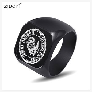 Wholesale 2018 new arrived Fashion USMC Stainless Steel Ring Men US Army Marine Corps Titanium Punk Biker Ring Charm Jewelry Rings gifts