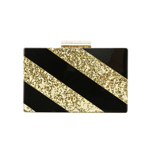 Wholesale Gold Glitter Solid Black Acrylic Clasp Bolsa Feminina Luxury Handbags Women Ladies Hand Bags Designer Acrylic Clutch Box Bags