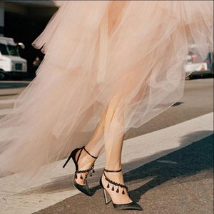 Wholesale Pointed Toes Women Dress Shoes High Heel Summer Sandals Single Shoes Rhinestoone Ankle Strap Sexy Cut Outs Black Stiletto Silk Lady Pumps