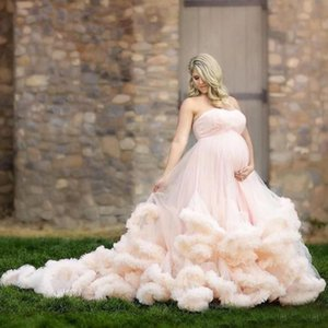 Wholesale 2018 Blush Pink Wedding Dresses Beach Country Maternity Pregnant Cascading Ruffles Sweetheart Bridal Gowns With Sweep Train vestido de novia
