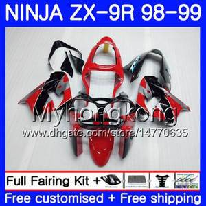 Body For KAWASAKI Red grey blk new NINJA ZX 9 R ZX900 ZX9 R ZX9R 98 99 00 220HM.33 ZX 900 900CC ZX 9R 98 99 ZX-9R 1998 1999 2000 Fairing kit