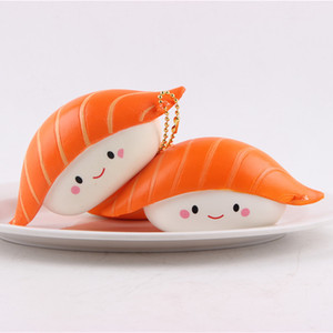 Wholesale 12CM Kawaii Squishy Rice Ball Salmon Sushi Slow Rising Pendant Phone Straps Vividly Japan Style Soft Keychain Kid Toy