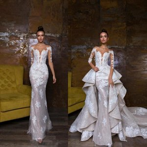 Wholesale 2019 New Designer Mermaid Wedding Dresses With Detachable Train Lace Appliqued Bridal Gowns Illusion Bodice Country Wedding Dress
