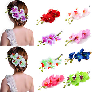 Wholesale New Design Artificial Camellia Flowers Hair Pins Phalaenopsis Hair Clip Headwear Ladies Wedding Party Hair Accessories