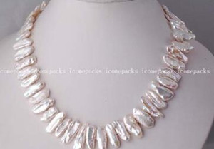 free shippinG wholesale special 17-21mm white biwa freshwater pearl necklace 17""
