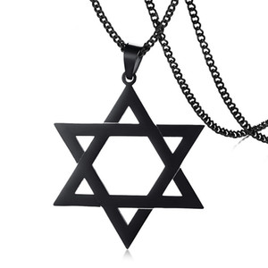 Wholesale Hollow Megan Star of David Pendant Necklace for Men Male with quot Cuban Link Chain Stainless Steel Israel Necklace Colors Option