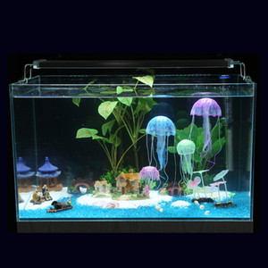 Wholesale jellyfish tanks resale online - High Quality Glowing Effect Artificial Jellyfish Fish Tank Aquarium Decoration Mini Submarine Ornament Underwater Pet Decor