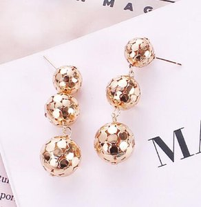 Wholesale Europe and the United States fashion new style metal texture tassel ball earrings fashionable designer earrings