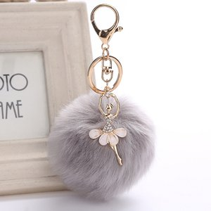Party favors Ballet Dancing Gril Pom Pom Fake Rabbit fur ball Plush Toy Keyring Pendant key chains Wedding gifts for Guests
