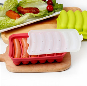 Wholesale sausage making resale online - Hot Dog Sausage Making Mold Maker Sausage Molds Tool Tray With Cover for Microwave Oven Kitchen DIY Silicone tools BBA127