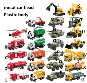 Wholesale Kids metal truck model pull back fire truck rescue vehicle container transport vehicle mini cartoon car models toys gifts