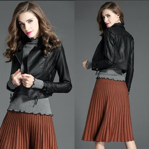 In Stock Women PU Jacket Long Sleeves Autumn Fashion Womens Clothes Four Colors Short Designer Jackets