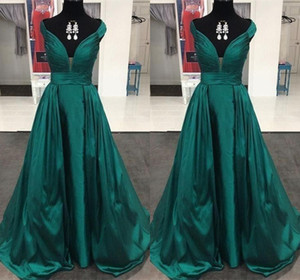 Wholesale Off-Shoulder Prom Dresses Green Satin Elegant Evening Formal Dresses 2019 Pleats Top Evening Dresses with Sash robes de soirée