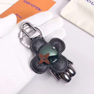Wholesale Fashion Cute Robot Flower Keyring Designer Keychain Stainless Steel Robot Leather Accessory Car Keychains for Gifts with Box