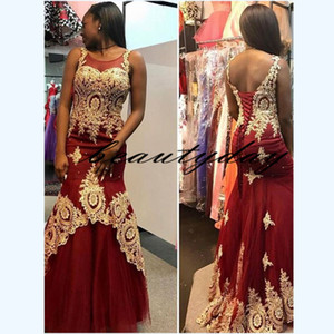Wholesale girls' fall dress resale online - Prom Dresses Formal Evening Party Pageant Gowns Sheer Neck Special Occasion Dress Black Girl k19 Gold Appliqued Lace Burgundy