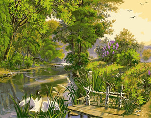 Wholesale Digital Oil Painting Landscape Dream Frameless pictures hand painted On Canvas cuadros decoracion Painting By Numbers