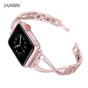 Wholesale JANSIN Bands mm mm bracelet Women Jewelry Stainless Steel Crystal Diamond Strap iWatch band Series