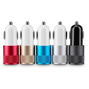Wholesale Metal Dual USB Car Charger 12 Volt 1 ~ 2 Amp for iPhone iPad iPod Samsung Galaxy Motorola Droid Nokia Htc