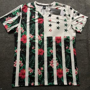Wholesale Summer mens designer t shirt Fashion V Collar Stretch Body tee shirt Men s Plant Flower D Printing hip hop Tee