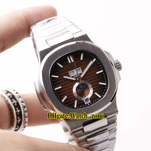Wholesale New mm Sport Nautilus Big Date A Wine Red Dial Asian Automatic Moon Phase Mens Watch Stainless Steel Band Gents Watches