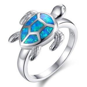 Wholesale New Unique Turtle Blue Fire Opal Animal Rings For Women Wedding Band Fashion Jewelry Vintage Filled Cocktail Cute Ring