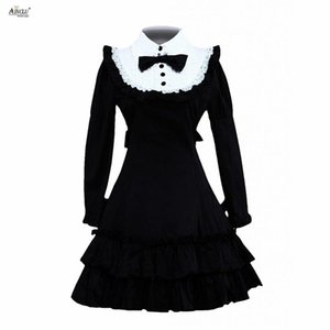 Wholesale Classic Lolita Dress Womens Cotton Black Long Sleeves Ruffle Classic Princess Dresses Lolita Dress Cosplay Costumes XS XXL