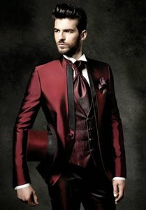 Wholesale New Fashion Slim Fit Shiny Burgundy Groom Tuxedos Groomsmen Excellent Man Wedding Wear Men Party Prom Suit Jacket Pants Tie Vest NO