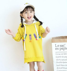 baby hoodies 2018 spring new yellow and orange 100% cotton kids clothing korea style 90-130cm Ins pattern hot on Sale