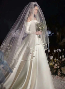 2T Long Wedding Veil 1.5m Width 3m Length White   Ivory Tulle Ribbon Edge Two Layer Wedding veil Wholesale Bridal Veils