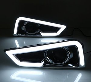 Wholesale LED daytime Running Lights for Honda City fog lamp cover drl with yellow turn signal light car styling