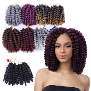Wholesale 8 inch 80g Ombre Jumpy Wand Curl Crochet Braids 20 Roots Jamaican Bounce Synthetic Crochet Hair Extension for Black Women