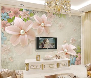 Wholesale Customized Retro Fresh Flowers European Beautiful D Stereo TV Background Wall Fashion Pearl Diamond Flower Baihua Qi Mural Painting