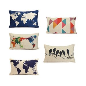 Wholesale 30 cm line throw flax pillow case decoration cushion pillow cover dark blue world map printed pillow cases