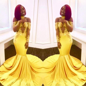 2020 Sexy Yellow Black Girls Mermaid Prom Dresses Lace Long Sleeves Backless Satin Floor Length Formal Party Wear Evening Gowns Custom