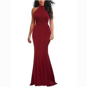 Fashion Women Bodycon Mermaid Party Dresses Sexy Halter Burgundy Elastic Satin Simple Women Dress Cheaper Homecoming Gowns 2018 Plus Size on Sale