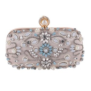 New White Handmade Bag Women Dress Evening Party Wallet Hollow Out Diamond With Pearl Beading Bag