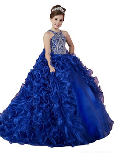 Wholesale Luxury Royal Blue Girls Pageant Dresses Organza Ruffled Crystal Beads Princess Ball Gowns Kids Party For Wedding Flower Girl Dresses