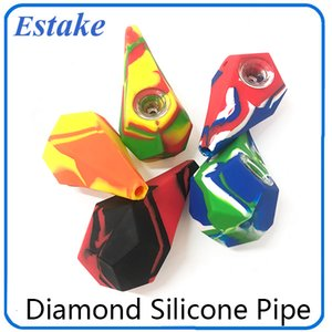 Diamond Silicone Smoking Pipes Water Hookah Bong Portable Hand Pipes With galss Bowl VS twisty glass blunt 0266199-1