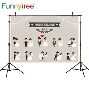 wholesale wedding theme photography backdrop bead curtain couple propose love frame cartoon cute balloon customize printed
