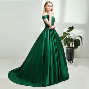 Wholesale 2018 elegant green lace beads prom dresses sexy lace up off shoulder long evening gowns custom pick ups party dress