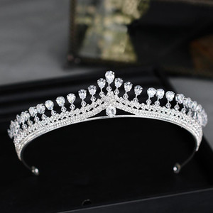 Wholesale Exquisite Crystal Crown Hairpiece Bride Wedding Hairpiece Hairband Silver Zircon Birthday Crown Hairpiece