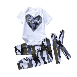 Wholesale 2018 Kids Clothing Baby Boy Clothes Set Suit Heart White Top Camo Pant Headband Baby Newborn Toddler Girls Clothes