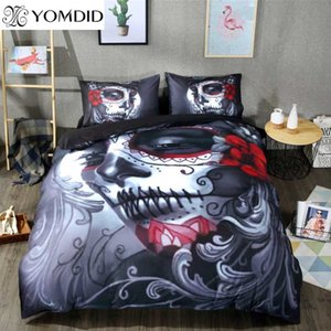 Wholesale Skull Bedding Set Halloween Style Bed Sheet Queen King Double Bed Cover Flat Sheet Pillow Case Blend Skull Duvet Cover Set