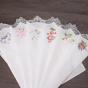 JI-001Vintage Cotton Women Hankies Embroidered Butterfly Lace Flower Hanky Floral Assorted Cloth Ladies Handkerchief Fabrics 6PCS