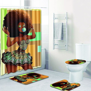 bathroom sets carpet rug Shower curtain African woman Toilet seat cover bathroom non-slip carpet and shower curtain