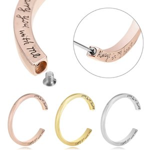 Wholesale Memorial Cuff Bracelets For Ashes Opened Screws Urn Bracelet Bangle Engraved Always In My Heart Cremation Keepsake Jewelry