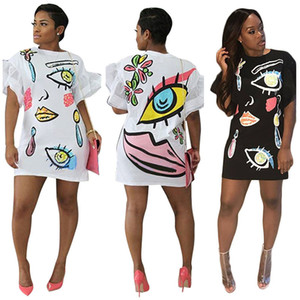 Wholesale Large Size Summer Bodycon Dresses Funny Printed Petal Sleeve Dresses Crew Neck Short Sleeves Lady Women Short Dresses