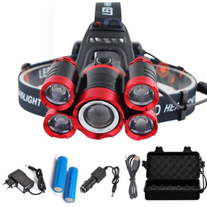 Wholesale 40000 Lumens LED Headlamp T6 modes Zoomable LED Headlamp Rechargeable Head Lamp Flashlight Battery AC DC Charger BOX